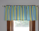 """Striped Window Valance, Blue, Green, Yellow, White Authentic Waverly Home Decor Fabric, """"Line Up"""" 52W x16L"""