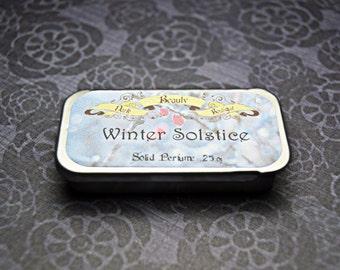Winter Solstice Solid Perfume - Perfume Crème Tin - Peppermint, Vanilla, Egyptain Sandalwood, Basil, Amber