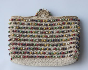 Vintage Hiawatha Colorful Beaded Clutch Purse