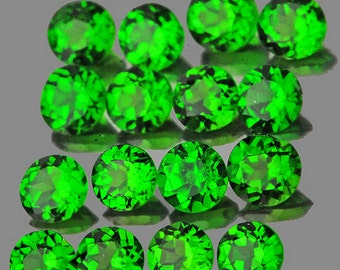 Bright Green Chrome Diopside Faceted Rounds, Calibrated 1.5 MM , Natural Gemstones, 70 Pieces, Wholesale Lot