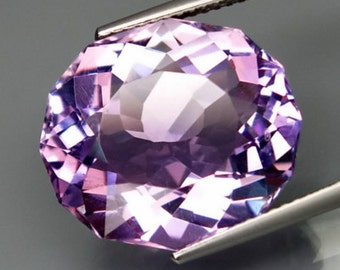 Large Lilac Purple Amethyst, 13.10 Ct. Custom Faceted Barion Cut Oval Gem, 17 x 15 MM Natural Color