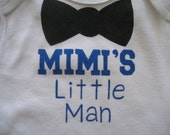 Grandma's Little Man,MiMi's,Bow Tie Boy's Onesie,MIMI's Little Man,Grandma To Be,Personalized With Four Letter Name,Baby Boy Shower Gift