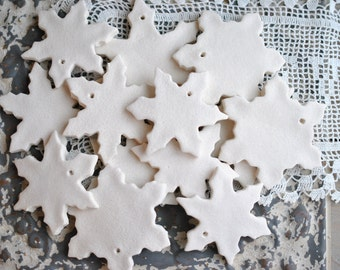 DIY Assorted Unfinished Snowflake Salt Dough Ornaments Baker's Dozen Set of 13