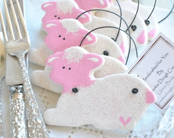 Lamb Baptism Favors Pink or Blue Salt Dough Ornaments / Christening Gifts Set of 10