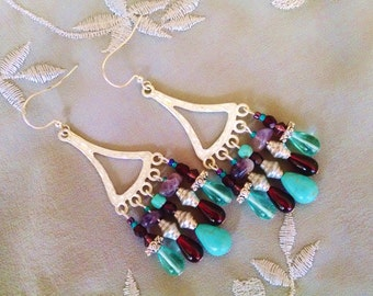 gemstone chandelier earrings, Bohemian gypsy hippie long Brushed silver chandelier earrings with turquoise amethyst teal and ruby glass