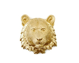 Faux Taxidermy - Miniature Gold Tiger Wall Mount - Resin Wall Decor MT08