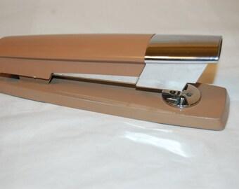 1980's Retro Modern Swingline Stapler Chrome and Tan Sleek Modern Style