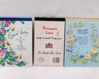 Vintage Stationary Writing Tablets Lot of 3 Bright colors Garden Fantasy