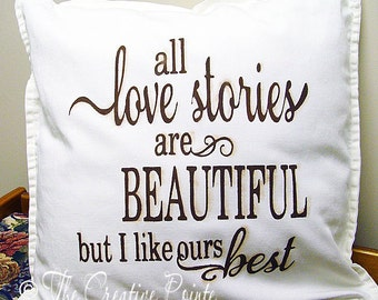 Love Stories Hand Painted Pillow