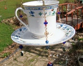 Tea cup Bird Feeder, Candle Holder, Upcycled, Recycled, Yard Art, Garden Art, Mothers Day, Sun Catcher
