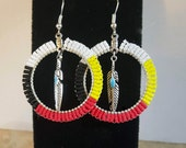 Beaded Hoop Earrings Symbolizing The Four Directions/Lakota/Native American