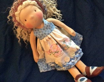American Girl, Waldorf doll clothes, vintage linens, shabby chic, ooak