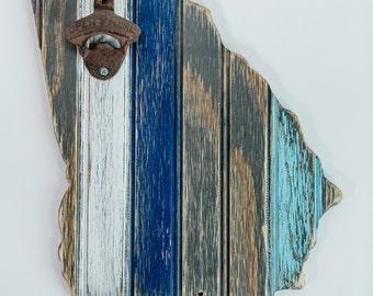 Wooden Georgia State Bottle Opener, Distressed Bead Board State, Nantucket, Waterfall