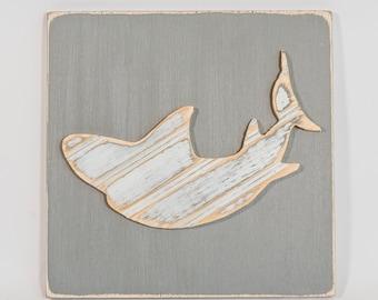 Shark Wall Art, Wooden Distressed Antique Bead Board