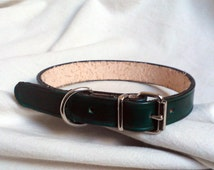 Leather dog collar, ,size M to XL, full grain leather dog collar with single buckle, available in 15 colors,