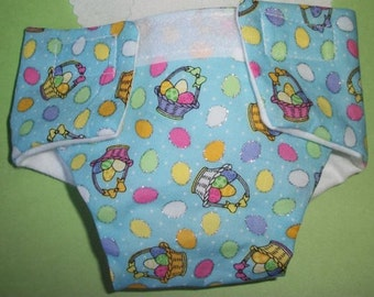 Doll diaper #3 READY TO SHIP adjustable Cloth easter basket eggs glitter fits bitty baby cabbage patch stuffed animals and more
