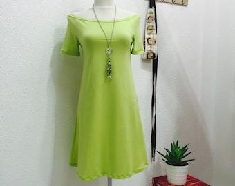 Peasant Dress, Womans Yellow Green Dress, Off Shoulder, Elegant and Feminine, Sun Dress, Spring Summer Fashion