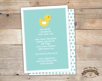 Rubber Ducky Baby Shower Invite- 5x7 DIY