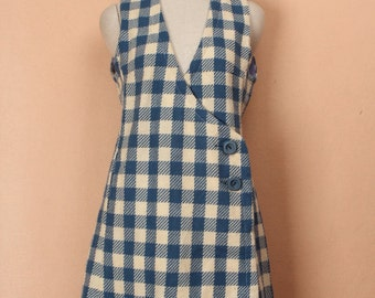 90s Blue and White Gingham Wool Jumper Skirt