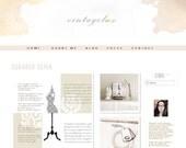 Premade Modern Watercolor neutral Blog Header - sepia natural Minimalist Design
