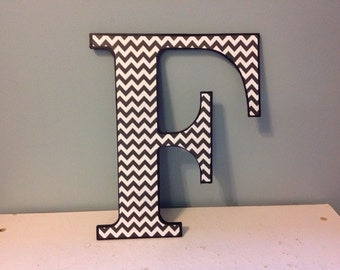 "Black and white chevron ""E"" wooden wall letter/wall decor/initial"