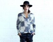 Valentines day BIG SALE Button Down Shirt, Patchwork Print