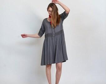 Summer SALE Placket Eyelet midi dress ,Gunmetal.