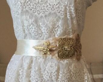 ladies bridal sash ivory Art deco wedding sash gold-bridal belt gold/Gatsby wedding sash ivory/Art Deco bridal sash /wedding belt handmade