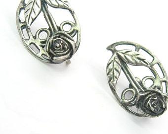 Rose Earrings. Arts & Crafts Design. Prairie School Style. Handmade Vintage Sterling Silver Jewelry. Screw Backs.