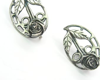 Rose Earrings. Handmade Sterling Silver, Screw Backs. Arts & Crafts Design. Prairie School Style. Vintage Mid Century Jewelry, c. 1950s
