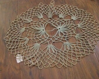 Oval celadon green antique doily - vegetable dyed  from 1800s