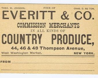 Antique Vintage 19th century New York Produce Market Merchant Business Card History Type