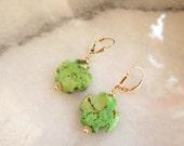 Earrings with Serpentine Gems
