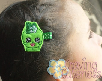 Shopkins Inspired Hair Clip, Bookmark, Planner Accessory, Badge Reel - Meet Miss Apple Blossom