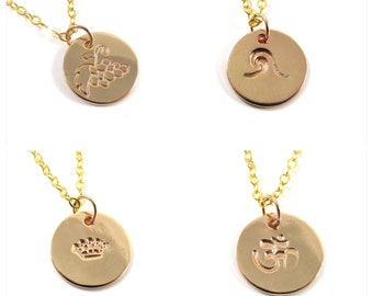Gold Hand Stamped Necklace, Circle Disc Charm Pendant, Custom Initials, Shaka, Wave, Grapes, Crown, Sea Turtle, Om Symbol, Girls Gift Idea