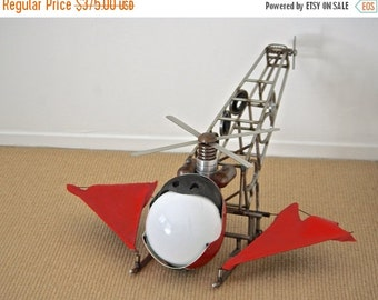 HALLOWEEN SALE Steampunk Helicopter Wine Rack Batcopter Wine Holder Centerpiece home decor modern furniture industrial decor found object st
