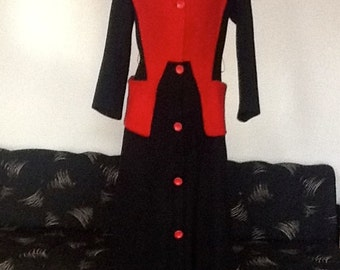 Original 1940's Dramatic Red & Black Myers Coat 10/12