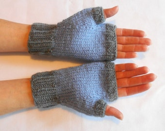 Fingerless Mitts in Light Blue and Gray