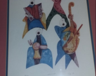 """Large Signed/Numbered Limited Edition """"Orchestra"""" Embossed Lithograph by Amram Ebgi (Morocco, b. 1939)"""