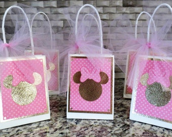 Minnie Mouse Pink And Gold Party Favor Bags - Set Of Six