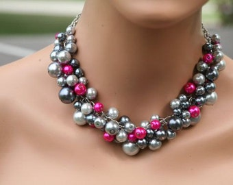 chunky pearl necklace- in Grays and hot pink/fuchsia together in this- Bridesmaids jewelry,  wedding jewelry, bridal party