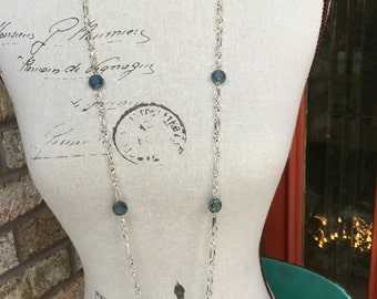 Long necklace with blue crystals and silver chain statement necklace