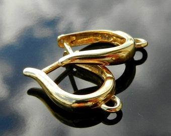 Gold Vermeil over Sterling Silver Lever Backs ear hoops earrings European Earwires