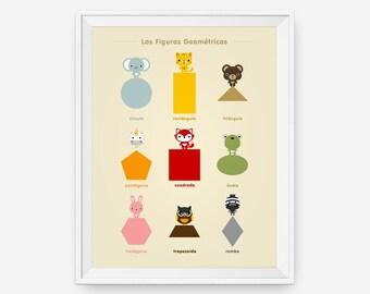 Spanish Learn the Shapes Animal Children Wall Art Poster, Nursery Art, Children Room Decor, Classroom Decor