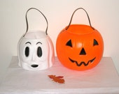 Jack-O-Lantern & Ghost Halloween Candy Buckets, 1980s Empire Blow Mold / Trick Or Treat Pails / Carolina Enterprises
