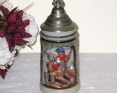 Original KING Lidded Beer Stein Made In Western Germany / Stoneware With Pewter Lid / 300 On Bottom / Mint Condition