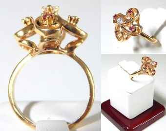 SALE: 14k Gold Spiral Diamond Ring with Red Stones