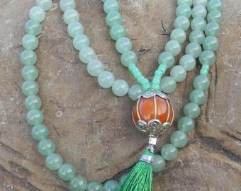 Mala, Bracelet, Spiritual, Buddhist Beads, Prayer Beads, Mantra Beads, Tibetan Beads, 108 Beads, Guru Bead, Tassel Beads, Aventurine Beads