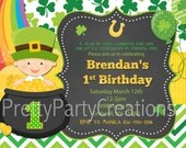 ST PATRICKS DAY baby first birthday invitation - 3 to choose - You Print