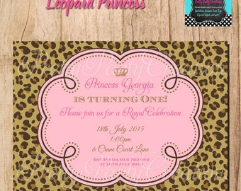 LEOPARD PRINCESS baby shower or Birthday - you print
